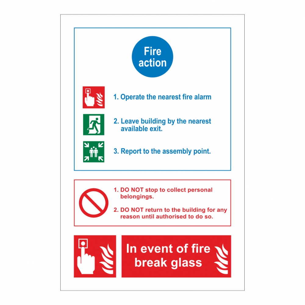 Fire Action, Do Not/ In Event Of Fire Sign